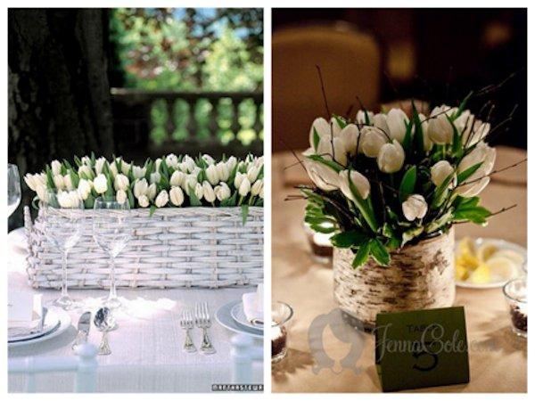 Romantic spring wedding centerpiece white tulipsfull