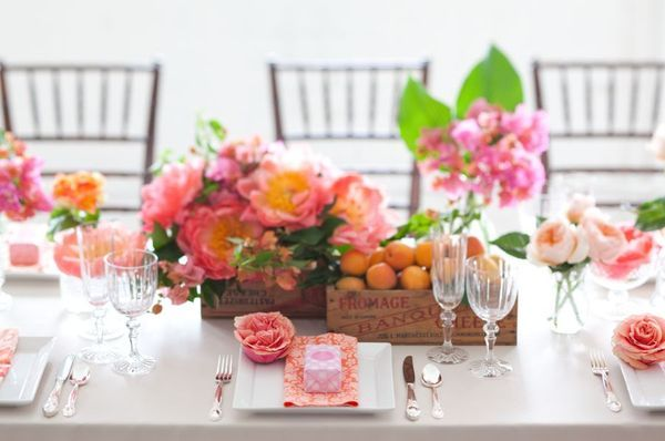Spring wedding reception centerpiece pink peach wedding