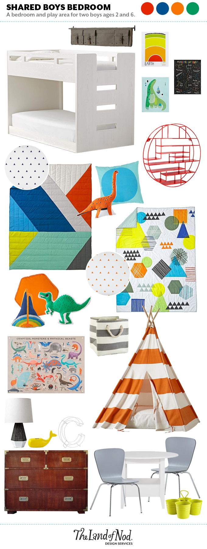 designing a shared boys' room with The Land of Nod