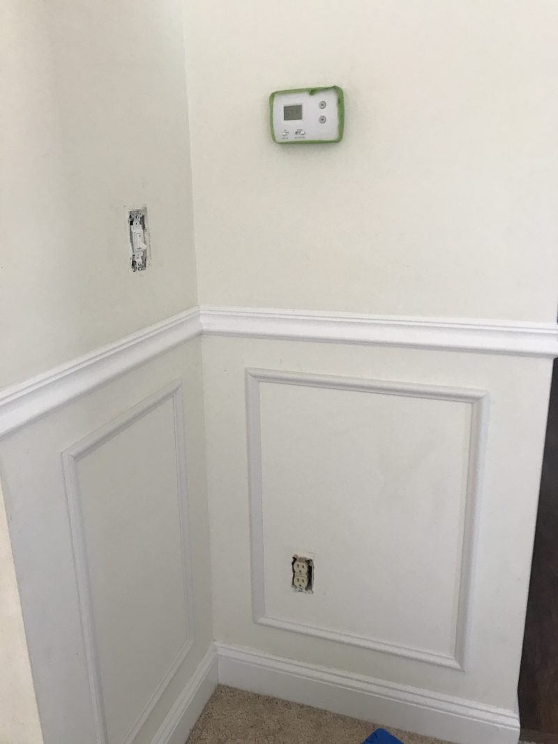 Sharing our dining room updates so far, with some DIY wainscoting and a little paint | ohlovelyday.com